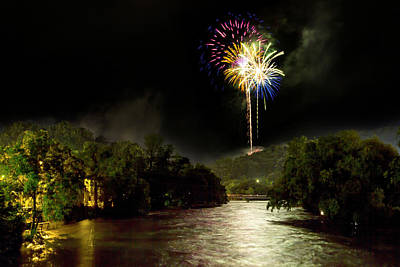 Photograph - Flood And Fireworks by Aaron Morgan