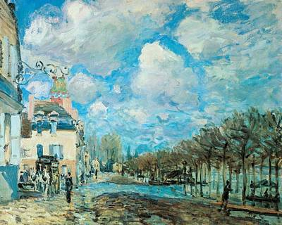 Nice France Painting - Flood At Port-marly by Alfred Sisley