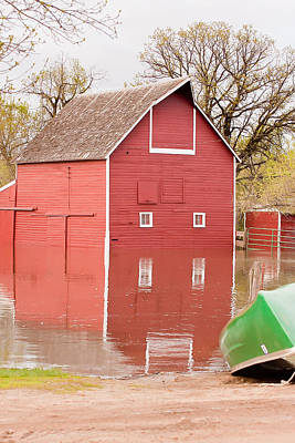 Souris Photograph - Flooded Barn by Wayne Vedvig