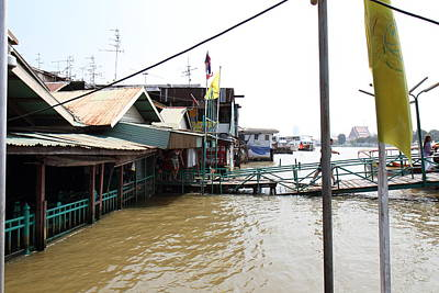 Flood Photograph - Flooded Docks Of A River Boat Taxi In Bangkok Thailand - 01131 by DC Photographer