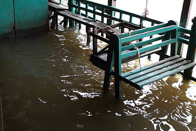 Flooded Docks Of A River Boat Taxi In Bangkok Thailand - 01133 Art Print by DC Photographer