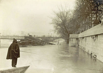 Flooding Drawing - Flooded Seine Banks, Destroyed Bridges And An Angler by Artokoloro