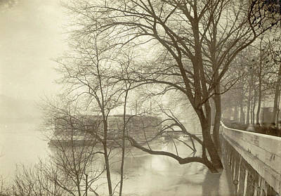 Flooded Seine River With Trees, Boats And Public Art Print by Artokoloro