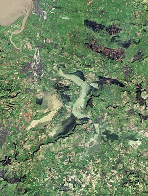 Flooded Somerset Levels Print by Nasa