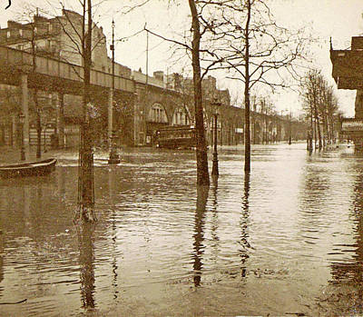 Flooded Street In A Flyover During The Flooding Of Paris Art Print