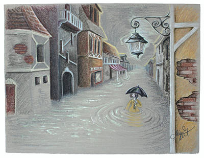Vintage Lamp Drawing - Flooded Streets by Abigail Kraft