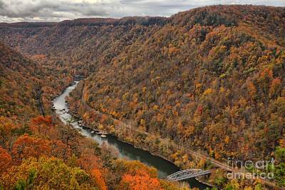 Photograph - Flooded With Fall Colors At New River by Adam Jewell