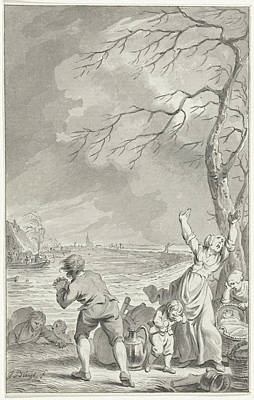 Flooding Drawing - Flooding Rijndijk In Gelderland, 1770, The Netherlands by Quint Lox