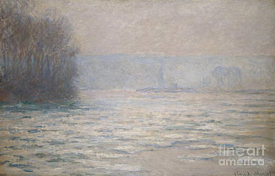 French Signs Painting - Floods On The Seine Near Bennecourt by Claude Monet