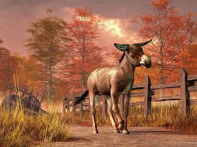 Donkey Digital Art - Flop Eared Donkey by Daniel Eskridge