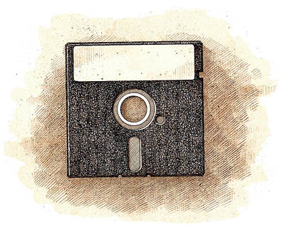 Drawing - Floppy Disk by Dan Nelson