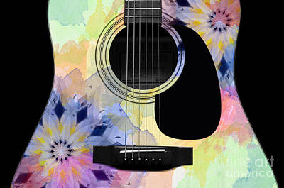 Flora Digital Art - Floral Abstract Guitar 10 by Andee Design