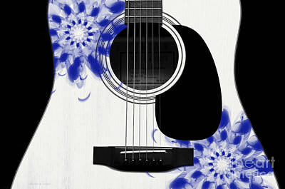 Digital Art - Floral Abstract Guitar 28 by Andee Design