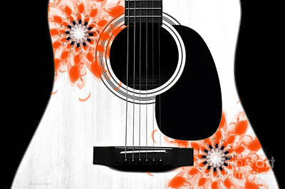 Guitars Digital Art - Floral Abstract Guitar 32 by Andee Design