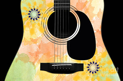 Floral Abstract Guitar 37 Art Print
