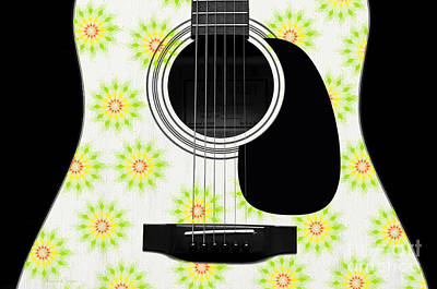 Digital Art - Floral Abstract Guitar 6 by Andee Design