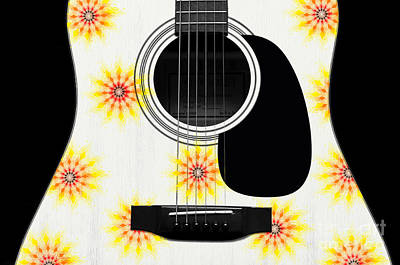 Digital Art - Floral Abstract Guitar 9 by Andee Design
