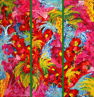 Floral Abstract Triptych On Green Background Art Print by Julia Fine Art And Photography