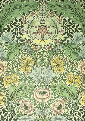 Tapestries - Textiles Digital Art - Floral And Foliage Design by William Morris