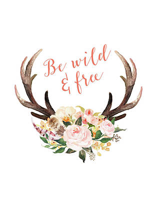 Free Painting - Floral Antlers Wild And Free by Tara Moss