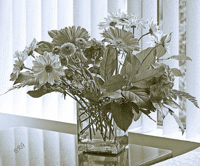 Floral Arrangement With Blinds Reflection Art Print