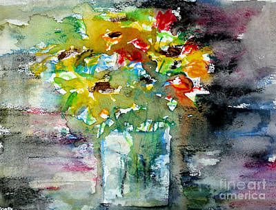 Floral Bouquet In Water Glass Art Print by Almo M