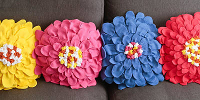 Colorful And Creative Photograph - Floral Cushions by Tom Gowanlock