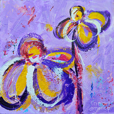 Painting - Lavender Abstract Flowers No 8  by Patricia Awapara