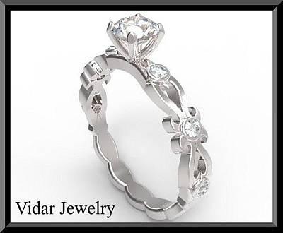 14k Jewelry - Floral Diamond 14k White Gold Engagement Ring by Roi Avidar