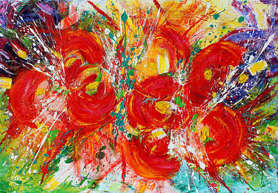 Silver Turquoise Painting - Floral Expressions by Julia Apostolova