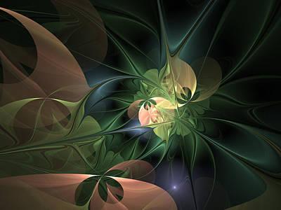 Petrol Green Digital Art - Floral Fantasy by Gabiw Art