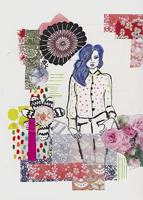 Abstract Collage Mixed Media - Floral Fashion Girl Collage by Rosalina Bojadschijew
