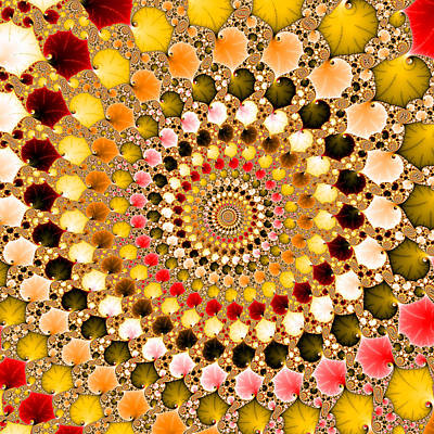 Digital Art - Floral Fractal Spiral Warm Colors  by Matthias Hauser