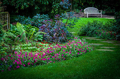 Photograph - Floral Garden Walk And Park Bench by Gene Sherrill