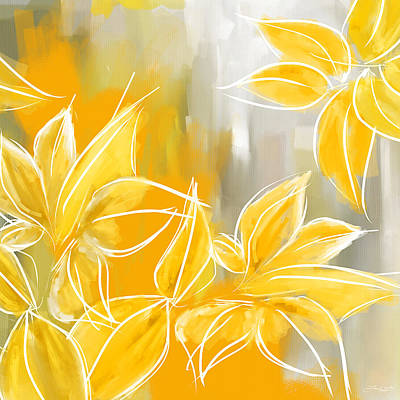 Floral Wall Art Painting - Floral Glow by Lourry Legarde