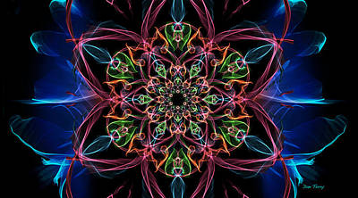 Curvilinear Digital Art - Floral Glowbloom by Dan Terry