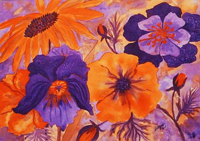 Painting - Floral Images In Orange And Purple by Ellen Levinson
