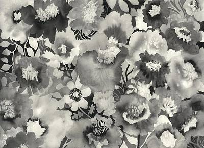 India Ink Wall Art - Painting - Floral In Black And White by Neela Pushparaj