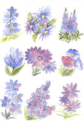 Lavender Drawing - Floral Pastels by Carol Wisniewski