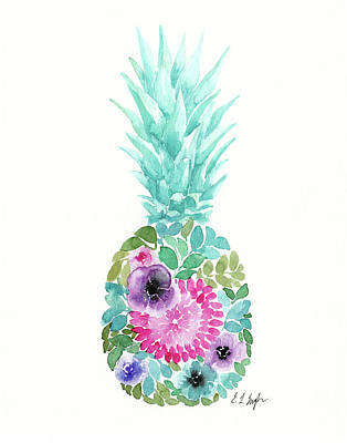 Pineapple Wall Art - Painting - Floral Pineapple Iv by Elise Engh
