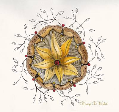 Free Form Drawing - Floral Pod by Nancy TeWinkel Lauren