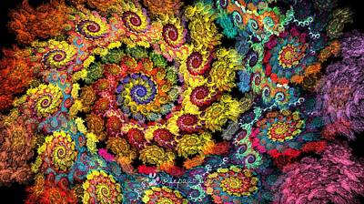 Abstract Digital Digital Art - Floral Spiral by Peggi Wolfe