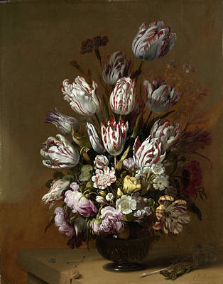 Salamanders Painting - Floral Still Life, Hans Bollongier by Quint Lox