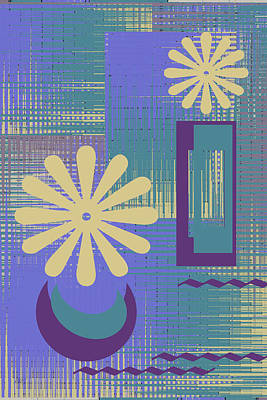 Digital Art - Floral Still Life In Purple by Ben and Raisa Gertsberg