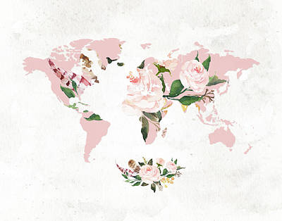 Man Cave Painting - Floral Watercolor Map by Tara Moss