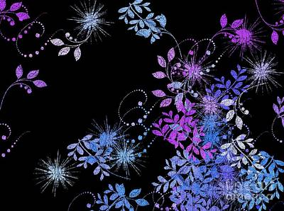 Purple Flowers Digital Art - Floralities - 02a by Variance Collections