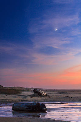 Photograph - Florence Beach Twilight Moon by James Eddy