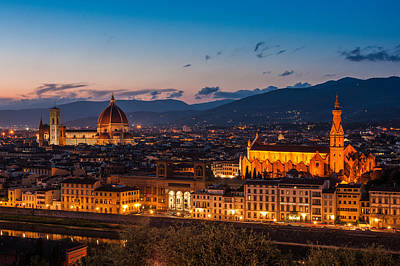 Florence City At Night Art Print