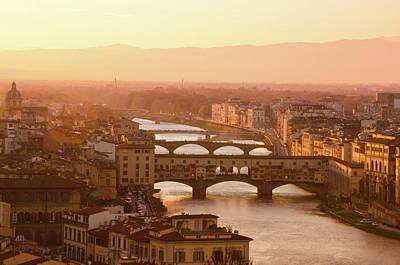 Florence City During Golden Sunset Art Print by Dragos Cosmin Photos