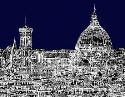 Florence Duomo In Dark Navy Print by Adendorff Design